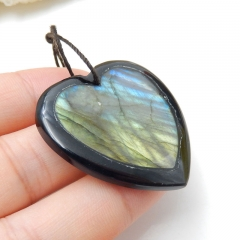Natural Obsidian And labradorite Drilled Heart Intarsia Pendant Bead, 35x5mm, 10.9g