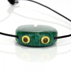 New design Africa Jade, Serpentine and Obsidian Intarsia Pendant , Cartoon Charms, DIY Jewelry Making,44x34x12mm,31.1g