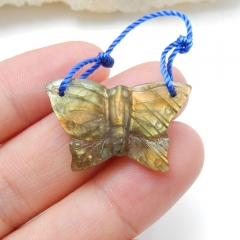 Handmade Labradorite Butterfly Pendant, Animal Carving, 25x16x5mm, 2.6g