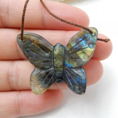 Handmade Labradorite Butterfly Pendant, Animal Carving, 35x27x6mm, 7g