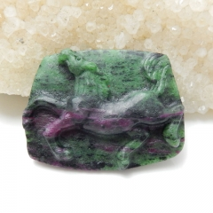 Handmade Carved Ruby And Zoisite Horse Cabochon, 42x33x8mm, 17.6g