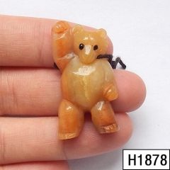 Amazonite gemstone Carved bear drilled Pendant