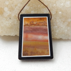 Natural Black Stone And Mookaite Jasper Drilled Intarsia Pendant Bead, 37x28x6mm, 14.6g