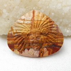 New Design, Carved Multi-Color Picasso Jasper Indian Head Cabochon,51x43x7mm,19.3g