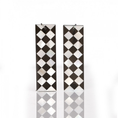 New design! M.O.P and Obsidian Intarsia Rectangle Gemstone Earrings Bead, 40x12x2mm, 5.5g