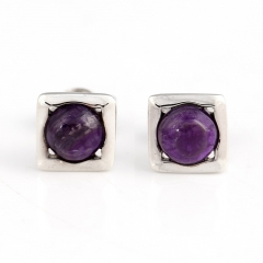 Hot Sale Natural Sugilite Gemstone Earrings, 925 Sterling Silver Findings, Purple Color Jewelry Accessories, 7x3mm, 1.4g