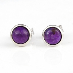 Hot Sale Natural Sugilite Gemstone Earrings, 925 Sterling Silver Findings, Purple Color Jewelry Accessories, 6x3mm, 0.9g