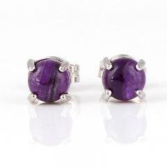 Hot Sale Natural Sugilite Gemstone Earrings, 925 Sterling Silver Findings, Purple Color Jewelry Accessories, 5x3mm, 0.7g
