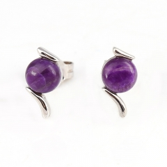 Hot Sale Natural Sugilite Gemstone Earrings, 925 Sterling Silver Findings, Purple Color Jewelry Accessories, 10x5x3mm, 1g