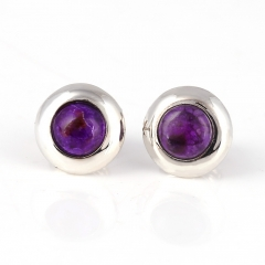Hot Sale Natural Sugilite Gemstone Earrings, 925 Sterling Silver Findings, Purple Color Jewelry Accessories, 8x3mm, 1.4g