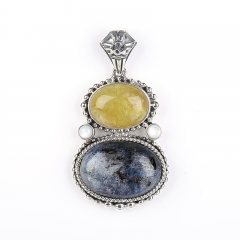 Sterling Silver 925 Yellow Opal and Blue Kyanite Intarsia Gemstone Pendant,Gorgeous Pendant, 18x13x8mm, 24x16x8mm, 21.6g