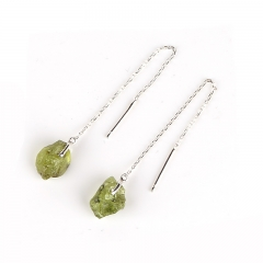 New design Nugget Peridot Earrings,Silver line earrings, Silver bar earrings, 10x7x5mm, 1.5g