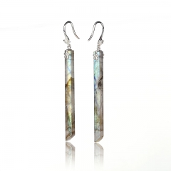 Hot Sale Labradorite Long Dangle Earrings, 925 Sterling Silver Findings, 51x4mm, 5.5g