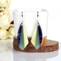 New Design Hot Sale African Sodalite,Green Aventurine and Serpentine Intarsia Earrings, 925 Sterling Silver Findings, 42x16x5mm, 9.8g