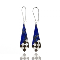 New design! Lapis Lazuli, M.O.P and Obsidian Intarsia Gemstone Earrings Bead, 44x15x2mm, 5.2g