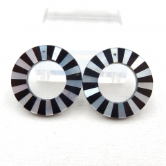 New design! M.O.P and Obsidian Intarsia Round Gemstone Earrings Bead, 35x4mm, 12.5g