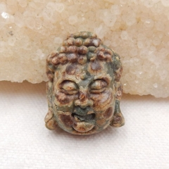 Frog's Eye Carved buddha head Pendant Bead, 31x24x12mm, 12.6g