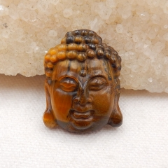 Tiger-Eye Carved buddha head Pendant Bead, 31x24x9mm, 11.5g