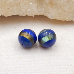 Lapis Lazuli and Labradorite Intarsia Earring Bead,Earring Pair Wholesale Supply,10x10mm,2.8g