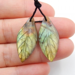 Hot sale Labradorite Carved leaf earring beads, 27x12x4mm, 3.8g