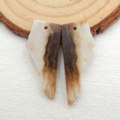 Nugget Wood Fossil Earrings Beads, stone for earrings making, 30x13x3mm,3.8g