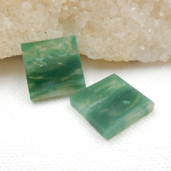 Natural Moss Agate Square Gemstone Cabochon Piar, 16x16x3mm, 3.5g