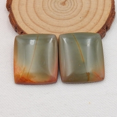 Hot Sale Multi-Color Picasso Jasper Rectangle Gemstone Cabochon Pair, 30x25x5mm, 15.7g