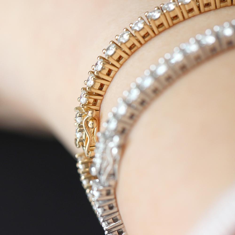 14K Yellow Gold 3 4CTW 16CM Length H Color 2 5mm Width Moissanite Simulated  Diamond Tennis Bracelet For Women