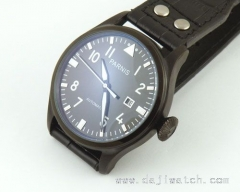 47MM Parnis PVD case Black Dial Automatic MECHANICAL WATCH
