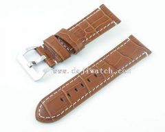24mm Brown Leather Strap For 44mm Case