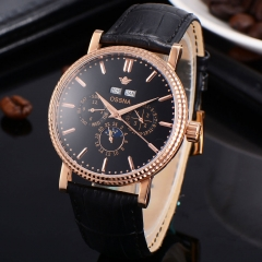 40mm Multifunction Black dial Automatic Ossna Men Watch