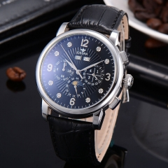 42mm Ossna Black Dial Moon Phase  Silver Shining markers Automatic Men Watch