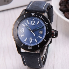 43mm BLIGER blue dial PVD case SUB automatic mens watch