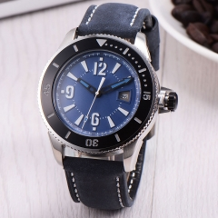 43mm BLIGER blue dial leather strap SUB automatic mens watch