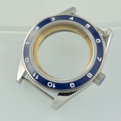 41mm Debert Sapphire Glass Blue bezel Brushe Case Fit ETA 2824 2836 Movement
