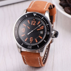 43mm BLIGER orange mark leather strap SUB automatic mens watch