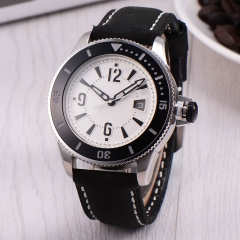 43mm BLIGER white dial leather strap SUB automatic mens watch