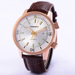 44mm DEBERT White DIal 821A Movement Leather Strap Miyota Mens Automatic Watch