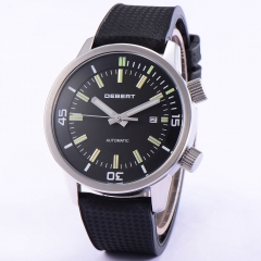 44mm DEBERT Black DIal Rubber Straps Miyota 821A Mov't Mens Auto WATCH