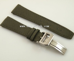 22mm Mixed Olives fabric Leather deployment buckle Strap fit IWC watch