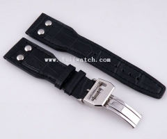 24mm black Striped Leather Strap folding clasp fit parnis I W C mens watch