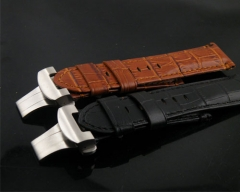 24mm brown black Leather Strap deployment clasp buckle