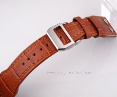 24mm Leather Strap folding clasp fit parnis I W C mens rivet watch