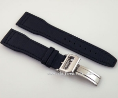22mm black fabric Leather deployment buckle Strap fit parnis mens watch