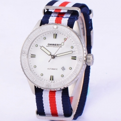 43mm Debert Nylon Strap White dial Automatic sapphire glass mechanical Watch