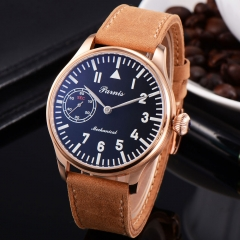 44mm Parnis Rose gold Case black dial Mechanical Hand-winding 6497 mens Watch