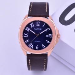 40mm parnis Rose gold case Navy blue dial miyota automatic mechanical men's watch