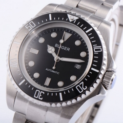 BLIGER 43mm Ceramic Bezel Luminous Big DG2813 automatic Date Day mens watch