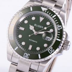 40mm BLIGER Ceramic Bezel SUB Luminous sapphire automatic Date Day mens watch