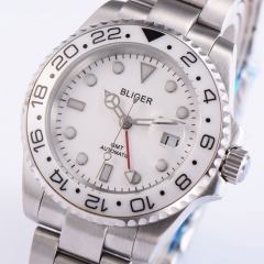 40mm BLIGER Ceramic Bezel GMT Luminous sapphire automatic Date Day mens watch